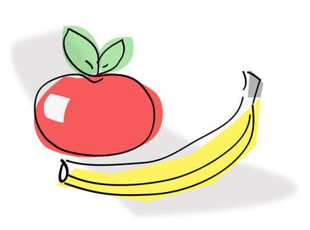 fruttosio: Frutta, banana e mela stilizzata.