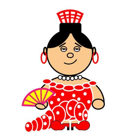 sevilla: Vector vertegenwoordigt Maru jurk van de Spaanse danseres van Sevilla. Stock Illustratie