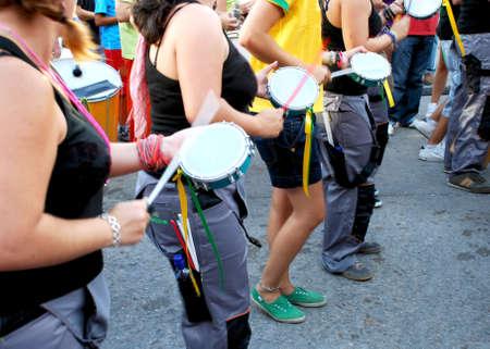 Brazilian Batucada Men and women doing rhythm