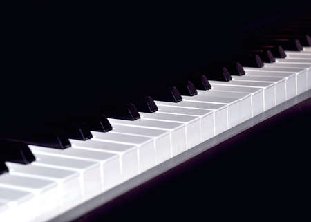 allegro: Keyboard of piano in black an white