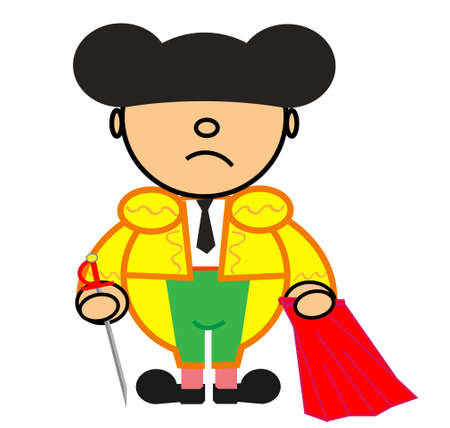 matador: Vector vertegenwoordigt Kiki kleed van groen en goud matador whit zwaard Stock Illustratie