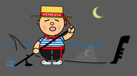 gondolier: Vector representing Kiki dress of gondolier Venecia by Night Illustration