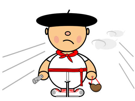 Vector representing Kiki dress of boy runner in Pamplona Illustration