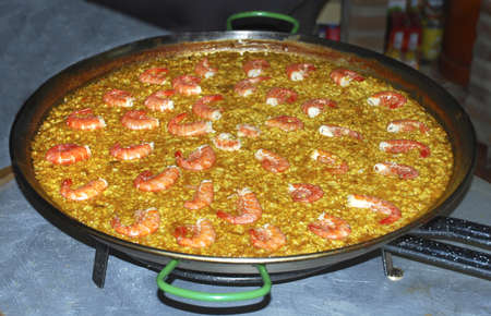 Spanish rice, paella with seafood Stock Photo