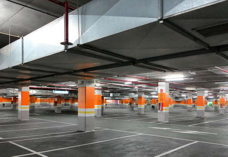 Large parking orange with very few cars