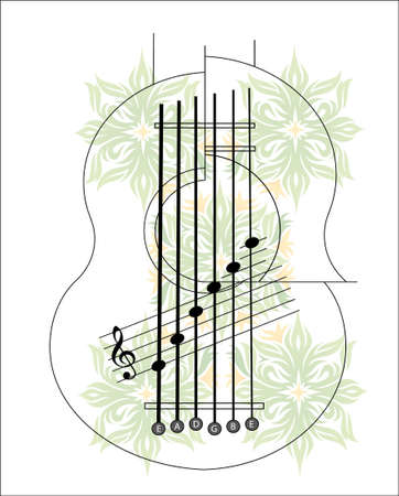Exotic guitar with flowers and notes