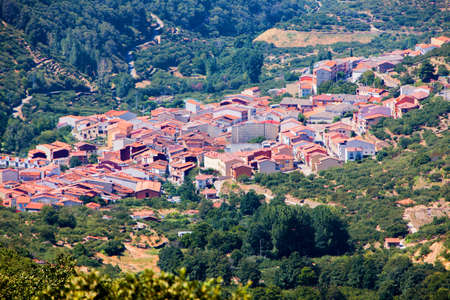 Full view of the  Jerte valley in Spain. Very famous for the magnificent cherries.