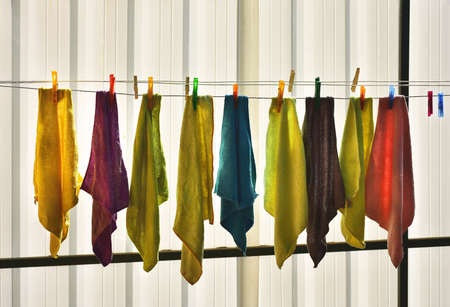 Colored rags on clothesline