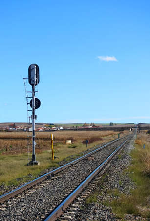 Railway landscape with fire signal