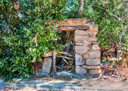 Ancient door abandoned in the meadow many years ago