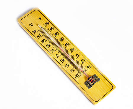 Alcohol thermometer on wood in yellow color