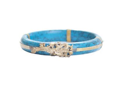 Tibetan turquoise bracelet isolated on white background