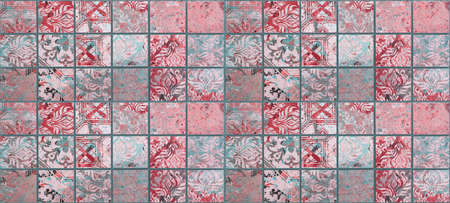 Brown red pink turquoise vintage retro geometric square mosaic motif cement tiles texture background banner panorama, with flowers leaves print Standard-Bild