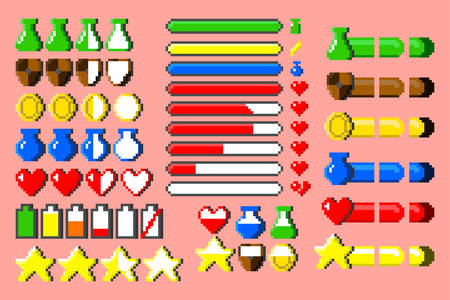 Big set of 8-bit elements, life bar vector illustrations. Retro, 8-bit style, pixel elements for nerd and classical game themed designs. Vectores