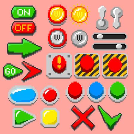 Pixel art arrows, buttons vector illustration set for retro themed designs. Illustration