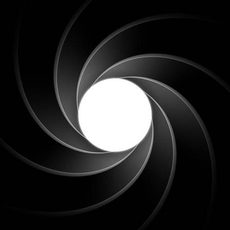 Inside gun barrel template. Classical secret agent theme remastered into a vector illustration. Background, element or backdrop for spy themed designs. Spiral or vortex pattern.