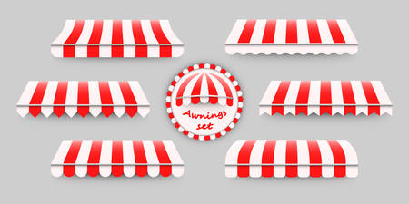 Striped, red and white awnings set. Foto de archivo - 96735239