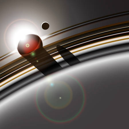 Gas giants ring system and its moon interacting. Star or sun eclipse. Deep space abstract background.