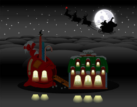 Christmas holiday scene. Elves gift factory  and Santa Claus flying with the reindeer sleigh with bag full of gifts.