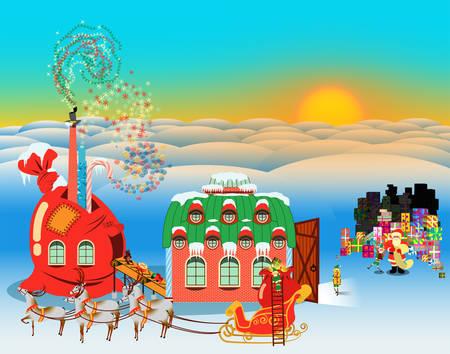 Scena di vacanze di Natale. Babbo Natale controlla la lista dei regali nella fabbrica di regali degli elfi mentre la slitta trainata da renne attende la partenza.