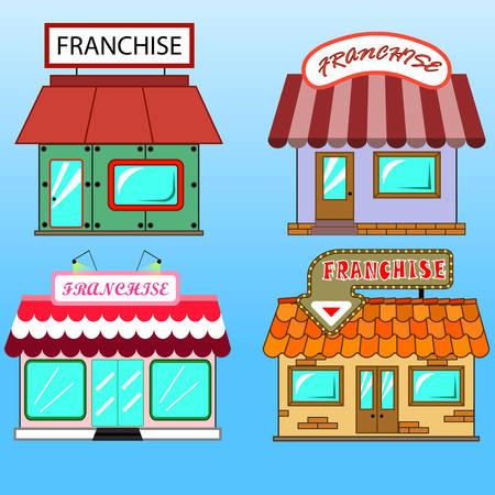Set of four different flat art franchise business buildings. Illustration