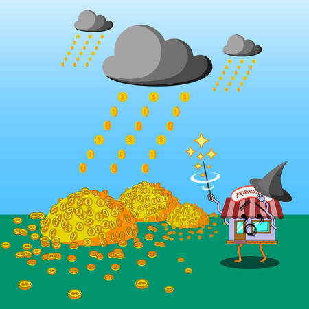 Flat art business concept illustration. Franchise character as a wizard casting money rain to fall. Metaphor of success.