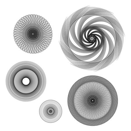 Simple but gorgeous 3D black and white mandalas or rosettes. Vector illustration in sacred geometry style.