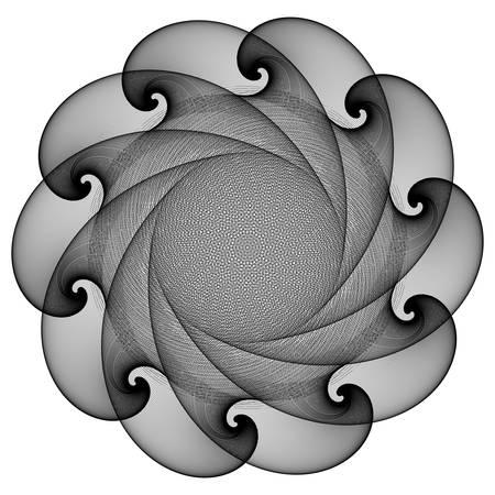 Fantastic abstract line geometrical flower, rosette or symmetrical ornament in black and white colors. Radial design element. Vector illustration. Contrast background element. Geometric artwork.