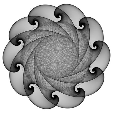 Fantastic abstract line geometrical flower, rosette or symmetrical ornament in black and white colors. Radial design element. Vector illustration. Contrast background element. Geometric artwork.