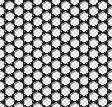 Graphene transparent seamless pattern vector illustration. Carbon atoms forming black hexagonal mesh like graphene mono-layer seamless texture. Science or nanotechnology design element. Stock Illustratie