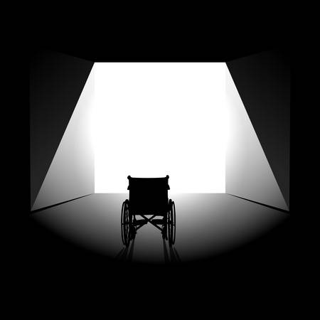 Physical disease or mental illness recovery minimalist concept. Empty wheelchair stands in front of bright wide opened exit door lighted by the sun. Abstract healing background, template or poster.