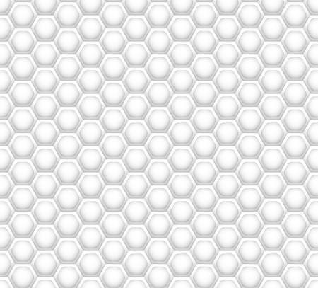 3D like honeycomb white texture. White honeycomb mesh seamless pattern. Futuristic abstract geometric hexagon element for internet, technology, science, business, interior, advertisement designs.