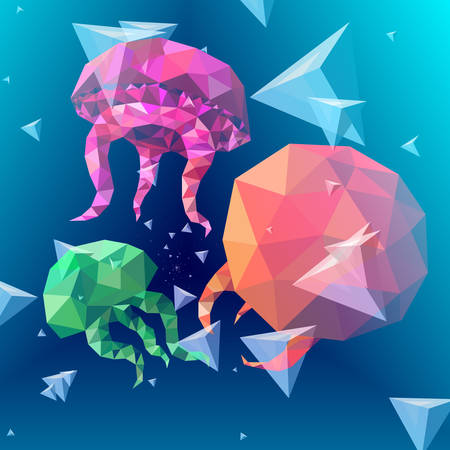 Colorful polygonal jellyfish background. Triangular bubbles. Stock Illustratie
