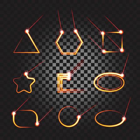 Laser cutting or welding trace transparent effect, melted material frame set. Burning trail banner, highlighter. Stock vector illustration of laser cutting or welding. Industrial theme banners, icons.