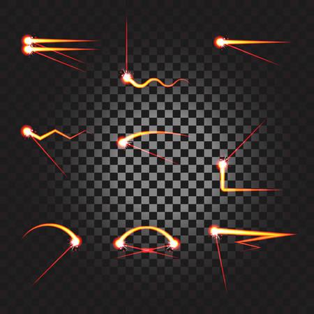 Laser cutting or welding trace transparent effect, melted material underline stroke set. Burning trail underline. Stock Illustratie
