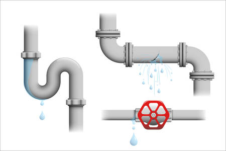 Leaking pipe vector set. Broken water pipeline with leakage, leaking valve, dripping drain illustrations isolated on white. Иллюстрация