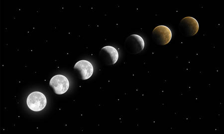Realistic full and partial lunar eclipse phases vector illustration. Umbra and penumbra moon eclipse. Vivid and rare astronomical phenomenon depiction for different designs.