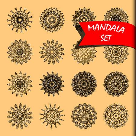 Line mandala set vector illustration. Rotary objects and Decorative rosettes.