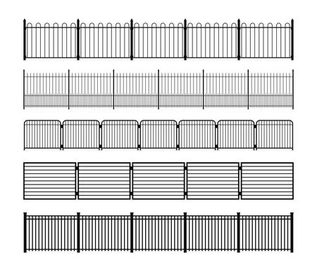 Set of different simple modular metal fence silhouettes. Vertically seamless metal fence elements. Black silhouettes of fencing from construction metal, wrought iron or steel. Vector brushes included. Stock Illustratie