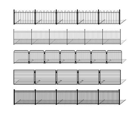 Various simple metal, wrought iron or steel fence silhouettes with shadows. Horizontally seamless modular metal fencing design elements. Vector pattern brushes with ending tiles included.