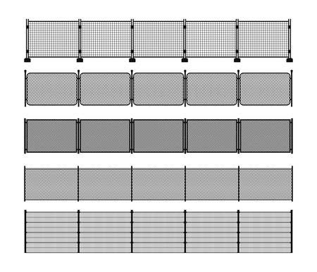 Conjunto de diferentes siluetas de valla metálica modular. Elementos de valla metálica verticalmente sin costura. Siluetas negras de alambre de metal, malla, eslabones de cadena, cercas portátiles. Pinceles vectoriales incluidos.