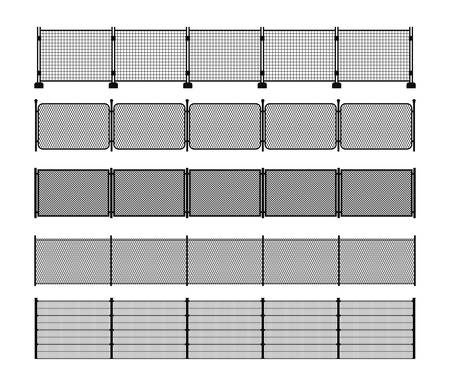 Set of different modular metal fence silhouettes. Vertically seamless metal fence elements. Black silhouettes of metal wire, mesh, chain-link, portable fencing. Vector brushes included.