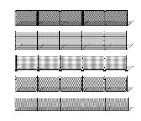 Various metal wire and chain-link fence silhouettes with shadows. Horizontally seamless modular metal mesh like fencing design elements. Vector pattern brushes with ending tiles included. Stock Illustratie