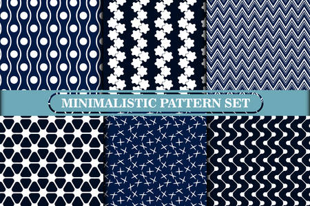 Minimalist, simple geometric seamless pattern collection. Retro and modern style design monochrome background or wallpaper set. Blue and white colors.