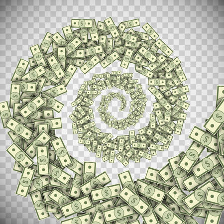 Dollar banknotes tornado, green money hurricane, money bills swirl, financial whirlpool concept. Vector illustration of banknotes spiral stream isolated on a transparency background.