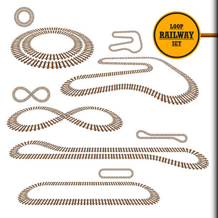 Old railroad loop set, railway track, perspective, curve and turn design element collection, transportation vector illustration. Looped train paths set for toy, modeling, decoration, web, gift uses.
