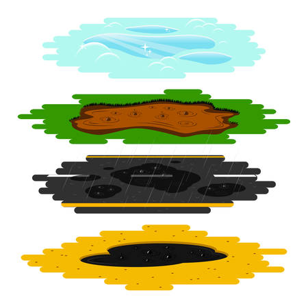 Puddles of different types set. Vector illustration of a mud puddle, puddle on the asphalt road, tar pit, and frozen pool. A cartoon style colorful collection of four templates, isolated on white ready for your design.