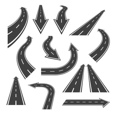 Arrow road set. Road arrows with white markings, an illustrations in a form of various turns, directions and perspectives. Nice arrow alike road themed vector design elements, isolated on white.