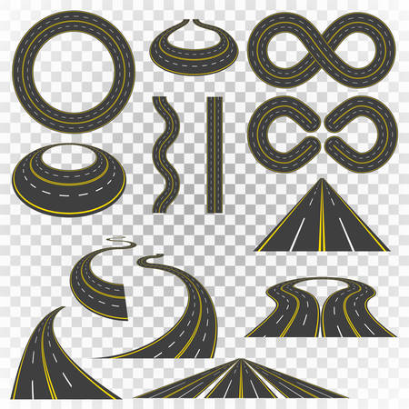 Set of asphalt road curves, perspectives, turns, twists, circles, elements, transport vector illustration of highway with yellow and white markings, isolated on transparent background.