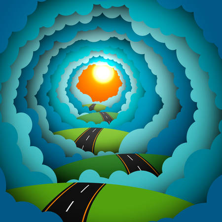 Colored paper technique blue clouds and sun in the sky, nature scene with an asphalt road or highway that going into the distance over green grass hills. Abstract colorful vector illustration.